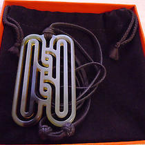 Auth Hermes  Buffalo Horn Necklace With Adjustable Cotton Cord Photo