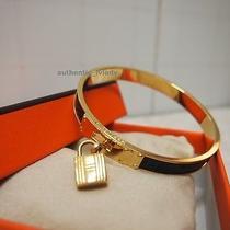 Auth Hermes Cadena Leather Kelly Gold Plate Bangle Bracelet-J2a Photo