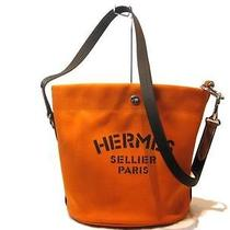 Auth Hermes Canvas Sacs De Pansage Shoulder Bag Orange Photo