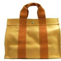 Auth Hermes Canvas Tote Bag Handbag Orange Hardware Silver Photo
