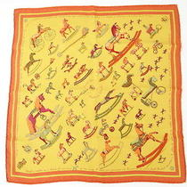 Auth Hermes Carre Scarf Raconte Moi Cheval Mini Rocking Horse 23110354400 D108 Photo