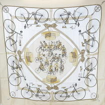 Auth Hermes Carre Silk Scarf 'The Bikes' Bicycle Motif White Beige F/s Used Photo