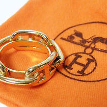 Auth Hermes Chaine d'ancre Scarf Ring Gold Goldtone - E14014 Photo