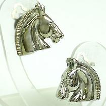 Auth Hermes Cheval Earrings Palladium Silver(bf078232) Photo
