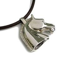 Auth Hermes Cheval Necklace Palladium/leather Silver/brown (Bf075337) Photo