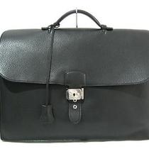 Auth Hermes Clemence Sac a Depeche 38 Bussiness Handbag Briefcases Black Photo