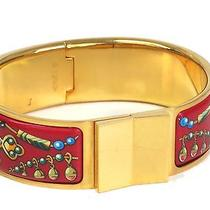 Auth Hermes Cloisonne Bracelet Bracelet Cloisonne/metal Gold/red 17cm(bf066513) Photo