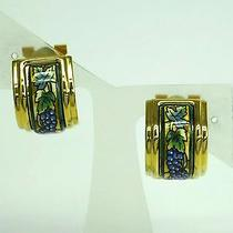Auth Hermes Cloisonne Earring Cloisonne/metal Greenish/gold(bf059463) Photo