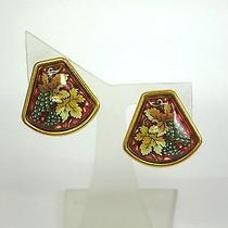 Auth Hermes Cloisonne Earring Cloisonne/metal Reddish/gold(bf059459) Photo