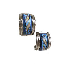 Auth Hermes Cloisonne Earring Metal/cloisonne Silver/blue(bf052248) Photo