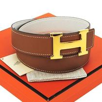 Auth Hermes Constance H Buckle Reversible Belt Brown Gold Leather France Rk06644 Photo