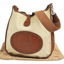 Auth Hermes Evelyne Shoulder Bag Be Toile H Veau Barenia Leather France Lp08661 Photo
