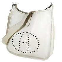 Auth Hermes Evelyne Shoulder Bag White Taurillon Clamence Leather France Lp08660 Photo
