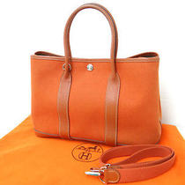 Auth Hermes Garden Party  Hand Tote Bag J Orange Leather Canvas 10100682400 4 Photo