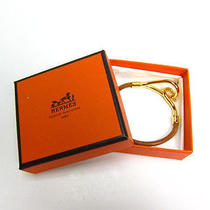 Auth Hermes Gold Tone Brown Leather Bracelet  - Mprs B636 Photo