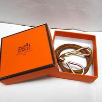 Auth Hermes Gold Tone Brown Leather Bracelet / Necklace - Mprs B660 Photo