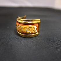 Auth Hermes Gold Tone Enamel One Piece Earring  - Mprs E613 Photo