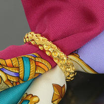Auth Hermes Goldtone Dimple Scarf Ring With Box 9104 Photo
