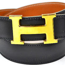 Auth Hermes Goldtone H Buckle Belt Size 65 25 Reversible Leather Black / Brown Photo