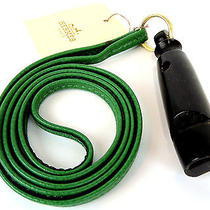 Auth Hermes Green Leather Black Wood Dog Whistle Necklace Made in France Photo