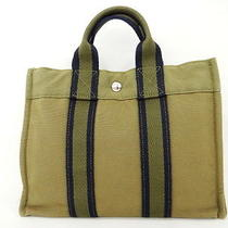 Auth Hermes Hand Tote Bag Fourre Tout Pm Green Cotton Canvas 05120016400 4248 Photo