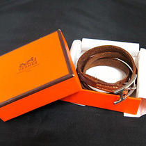 Auth Hermes Hapi Silver Tone Double Brown Leather Bracelet   - Mprs N603 Photo