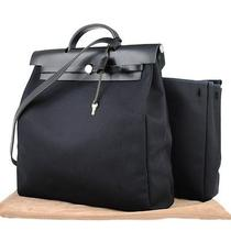 Auth Hermes Her Bag 2 in 1 Hand Bag Shoulder Bk Toile Offcier France Lp08667 Photo