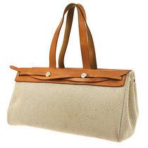 Auth Hermes Her Bag Cabas Pm Shoulder Tote Bag Beige Toile Gm Leather Ka02799 Photo