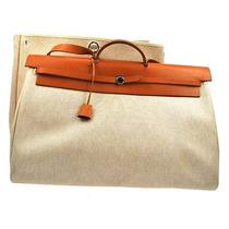 Auth Hermes Her Bag Gm 2 in 1 Beige Canvas Leather 2way Hand Bag Vintage Rk07228 Photo