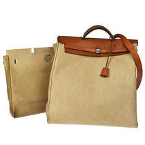 Auth Hermes Her Bag Jumbo Xl 2 in 1 Tote Hand Leather Canvas Ivory Lp08662 Photo
