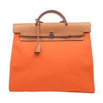 Auth Hermes Herbag Zip Tote Bag Orange Natural Toile Officier Leather 15108553 Photo