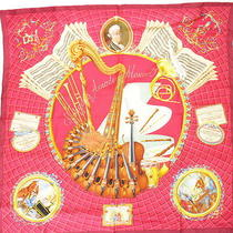 Auth Hermes Hommage a Mozart Wine Abadie 100% Silk Scarf France Good 8a197 Mprs Photo