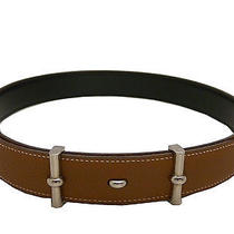 Auth Hermes Ladys  Light  Brown Leather Silver Hardware  Waist Belt   E-1257 Photo