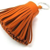 Auth Hermes Lambskin Carmen Key Chain Key Ring Orange Free Shipping Photo
