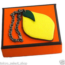 Auth Hermes Lemon Motif Sterling Silver Key Chains Fruit Charm Yellow Leather Photo