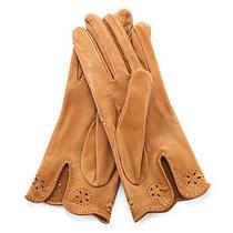 Auth Hermes Light Brown Leather Lasercut Detail Wrist Length Gloves Sz 7 Evhb Photo