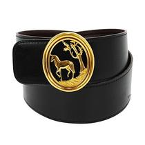 Auth Hermes Logos Horse Buckle Reversible Belt Black Gold Leather France B20212 Photo