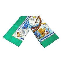 Auth Hermes Logos Jumbo Xl Scarf Green Blue Silk 100% Vintage France 2-1082w Photo