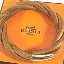 Auth Hermes Logos Leather Bracelet Bangle Brown With Box From Japan 2432er Photo