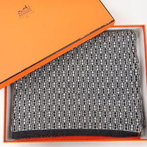 Auth Hermes Muffler Scarf Cashmere 100% Gray X Orange Line 00110127800 2288  Photo