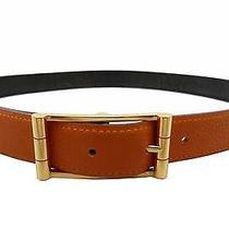 Auth Hermes Paris Gold Buckle Black/orange Leather Belt France sz.85 E-3814 Photo