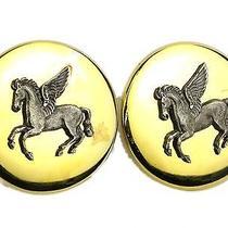 Auth Hermes Pegasus Clip Earrings Palladium Gold (Bf075332) Photo