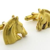 Auth Hermes Plated Cuff Buttons Gold Horse Photo