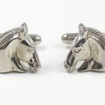 Auth Hermes Plated Cuff Buttons Silver Horse Photo