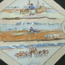 Auth Hermes Pleated Scarf 100% Silk Cronland Beige Multi Color Box Good 84707 B Photo