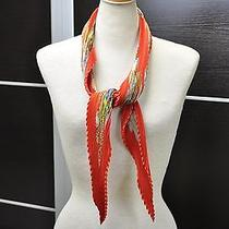 Auth Hermes Plisse Scarf Bird Design Silk Red 10933 Photo