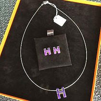 Auth Hermes Pop H Necklace Pendant and Earrings Metal Purple W/ Gold Plate Photo