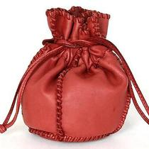 Auth Hermes Red Leather Drawstring Jewelry/accessory Pouch With Whipstitch Photo