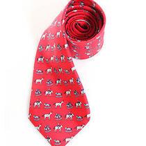 Auth Hermes Red Silk Rocking Horse Graphic Necktie Tie Photo