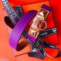 Auth Hermes Rivale Double Tour Leather Double Wrap Bracelet Anemone Gold New Box Photo